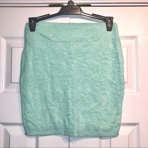 Mint Lace Pencil Skirt